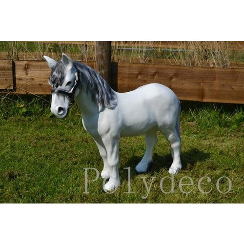 Polydeco Polyester paard wit