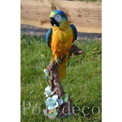Polydeco Polystone papegaai staand op tak