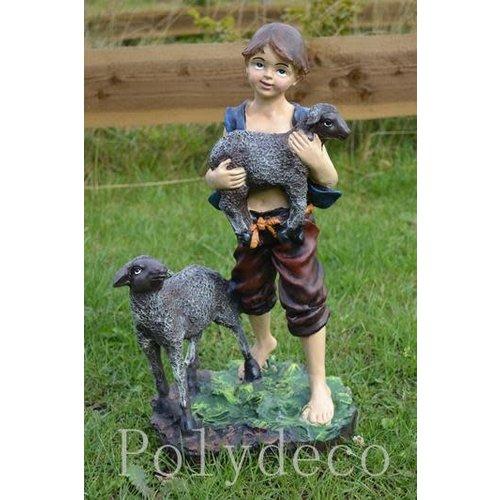 Polydeco Polystone jongen met lammetjes