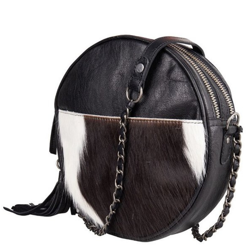 Chabo Bags Circle Bag  Cow Zwart
