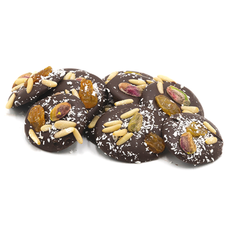 Chocomeli Dark with pinions, grapes and pistachios