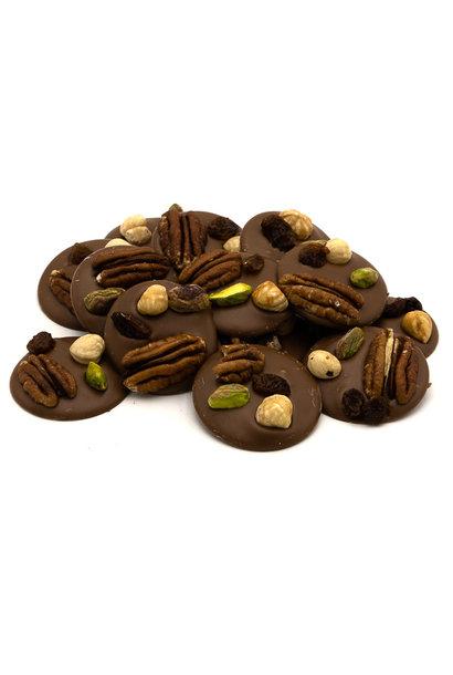 Milk with pecan nuts, pistachio, raisins and hazelnuts