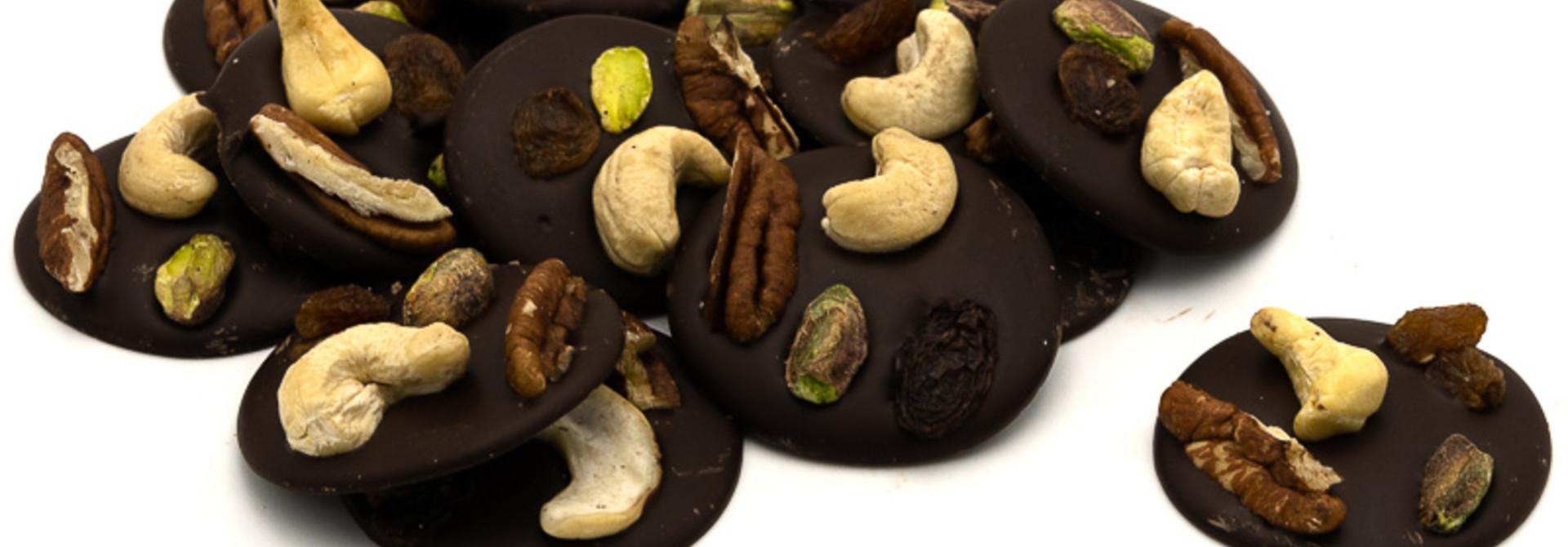 Dark with cashews, pistachio, raisins and pecan nuts