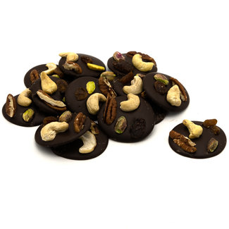 Chocomeli Dark with cashews, pistachios, grapes and pecan nuts