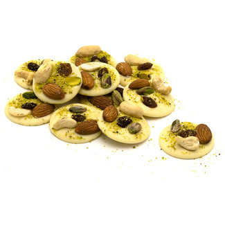 Chocomeli White with pistachios, almonds, raisins and cashews