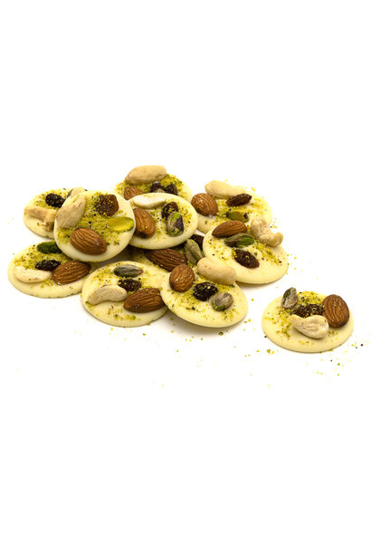 White with pistachios, almonds, raisins and cashews