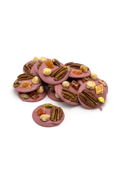 Ruby with pecan nuts, hazelnuts, pistachios and papaye