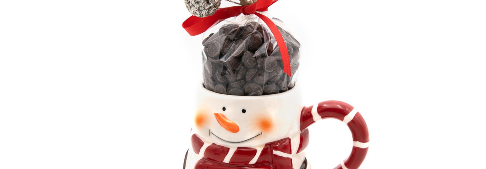 Hot dark chocolate in cup (snowman)