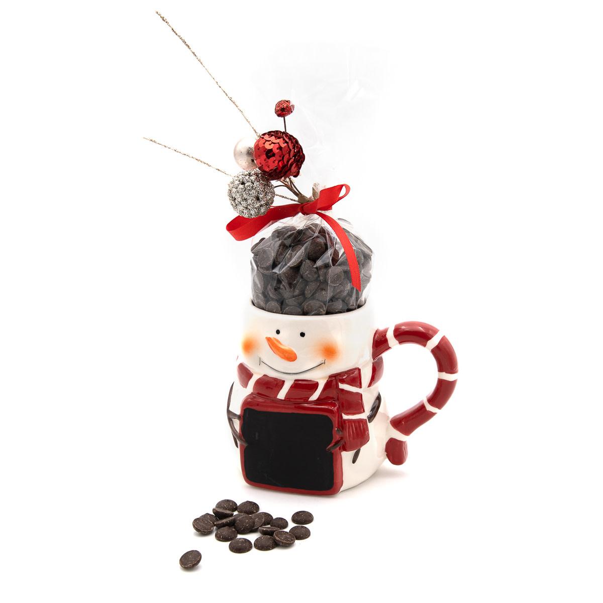 Hot dark chocolate in cup (snowman)-1