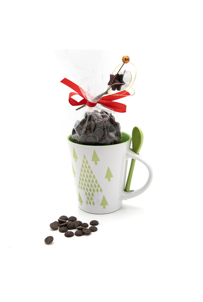 Hot dark chocolate in cup (green tree)