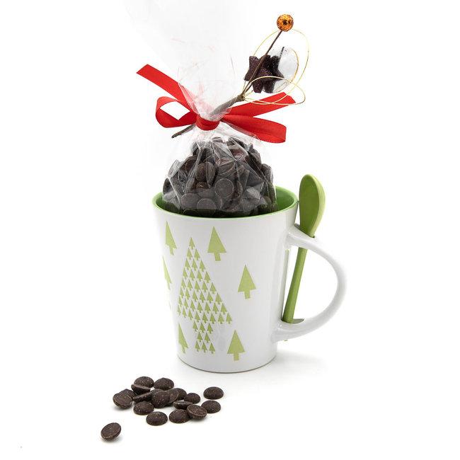 Chocomeli Hot dark chocolate in cup (green tree)