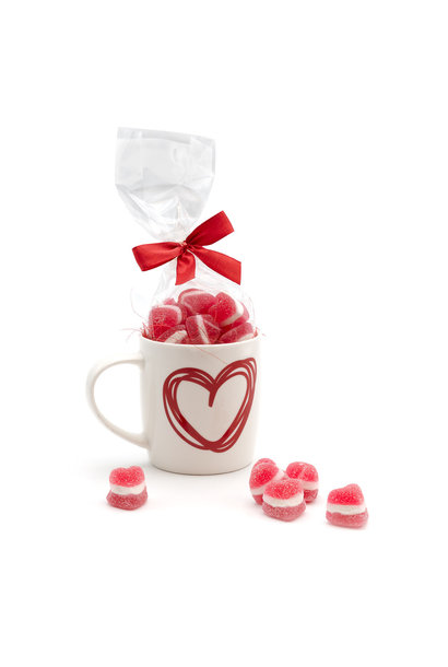 Sweets in a heart cup