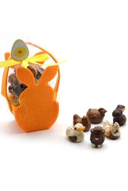 Assortment of Easter pralines in a bunny bag