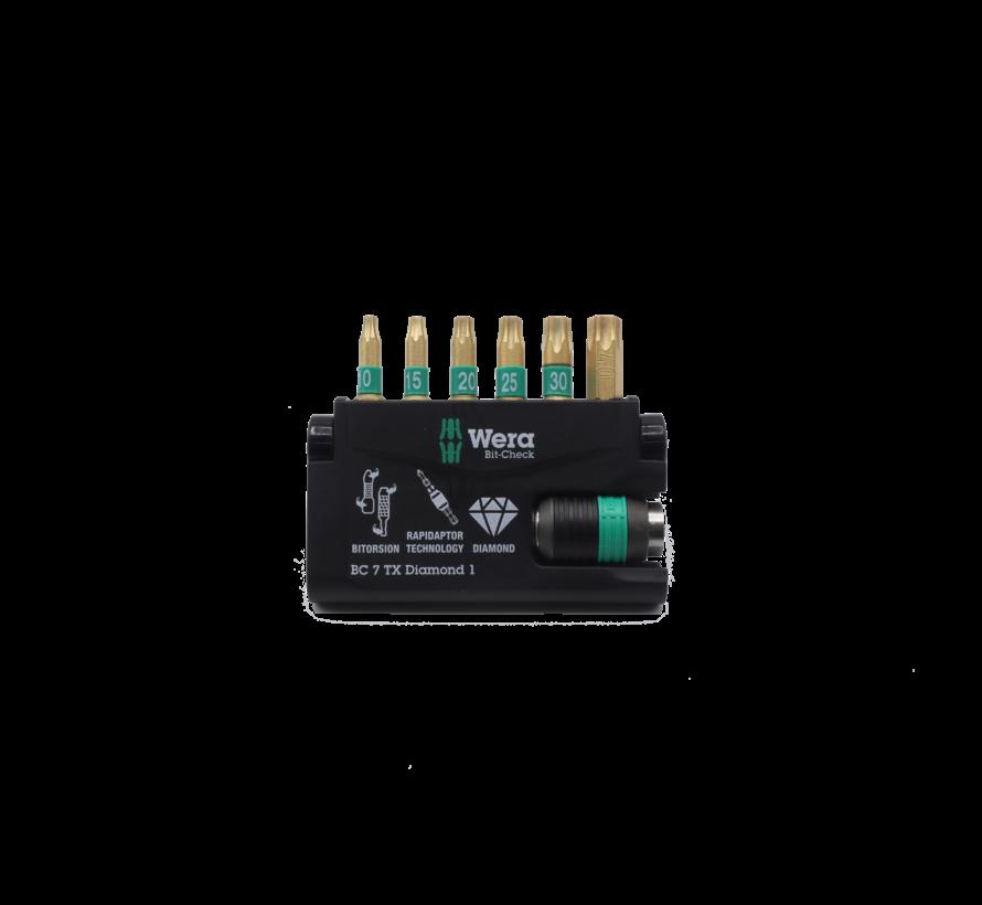Wera bitset diamond 6-delig rapidaptor technology Tx10x15x20x25x30