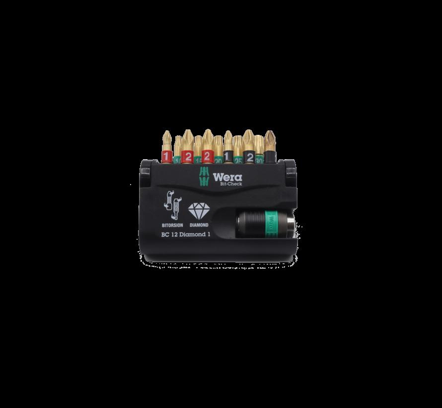 Wera bitset diamond 12-delig rapidaptor technology Tx10x15x20x25x30 PHx1x2 PZx1x2