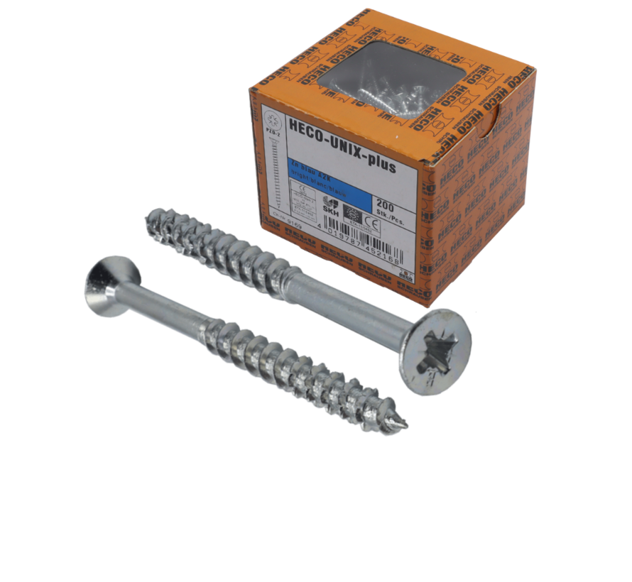 HECO-UFIX®  Spaanplaatschroef verzinkt 5x80mm PK Pozidrive