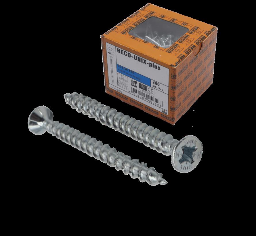HECO-FIX_PLUS® spaanplaatschroef RVS A2 platkop PZ3 6X60MM