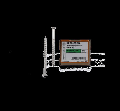 Heco HECO-TOPIX® vlonderschroef RVS A2 platkop TX25 5X70MM