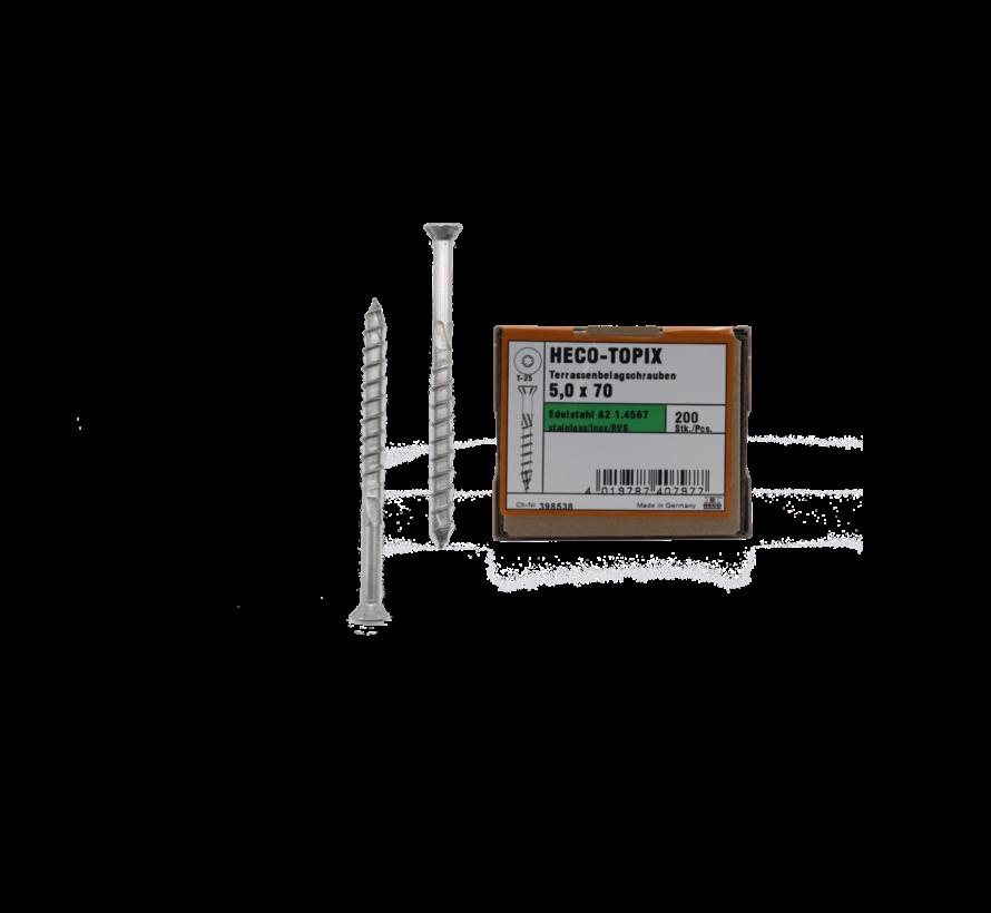 HECO-TOPIX® vlonderschroef RVS A2 platkop TX25 5X70MM