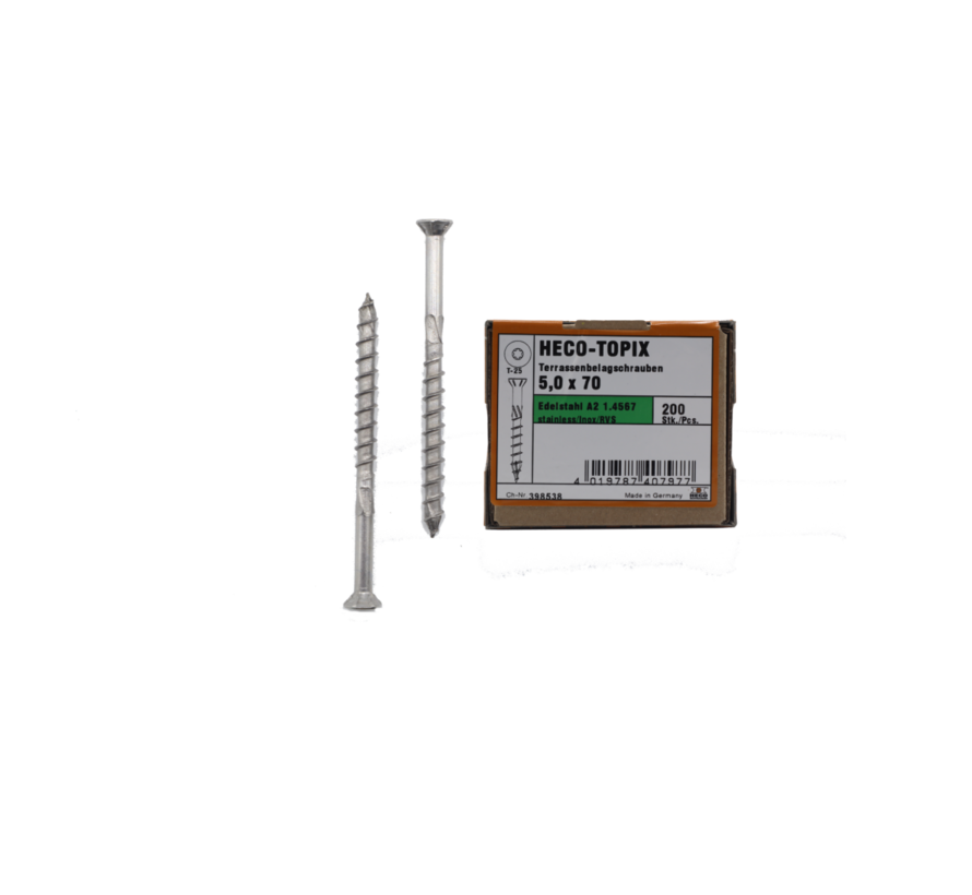 HECO-TOPIX® vlonderschroef RVS A2 platkop TX25 5X80MM