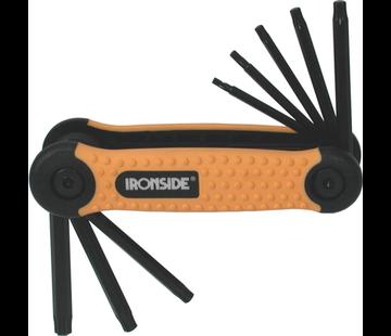 Ironside Ironside sleutelset inklapbaar met torx aansluiting 8-delig