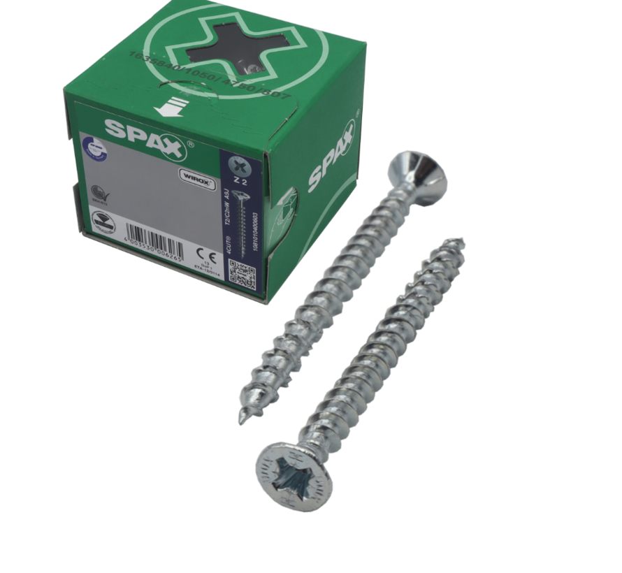 Spax®  WIROX spaanplaatschroef platkop PZ2 4.5X80MM