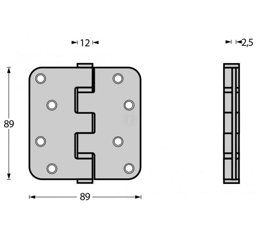 Intersteel Kogellagerscharnier RVS MAT ZWART 89x89x2.5 mm  afgerond
