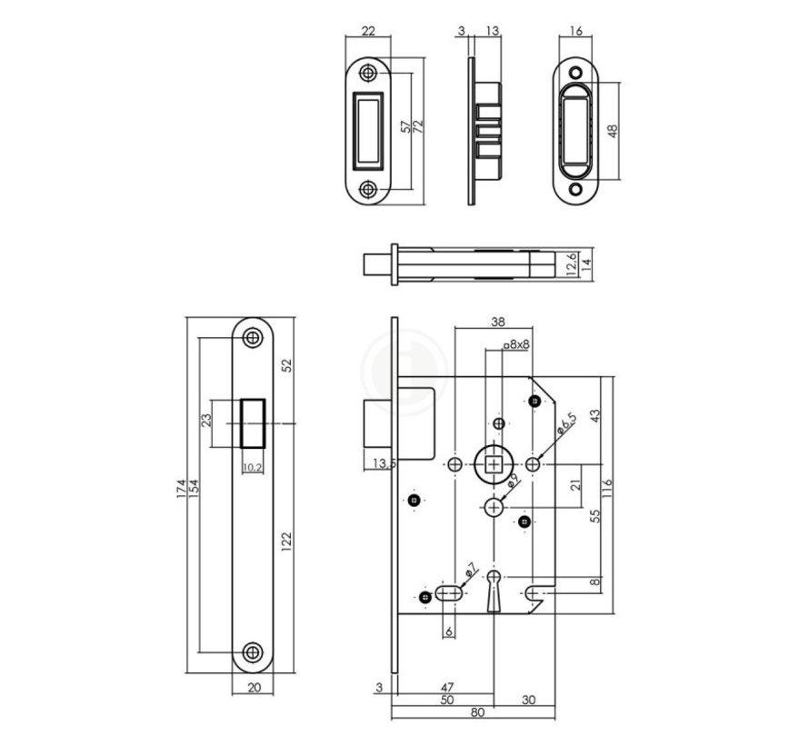 Intersteel Dag- en nachtslot magneet 50mm ZWART U174x20 mm  SL56