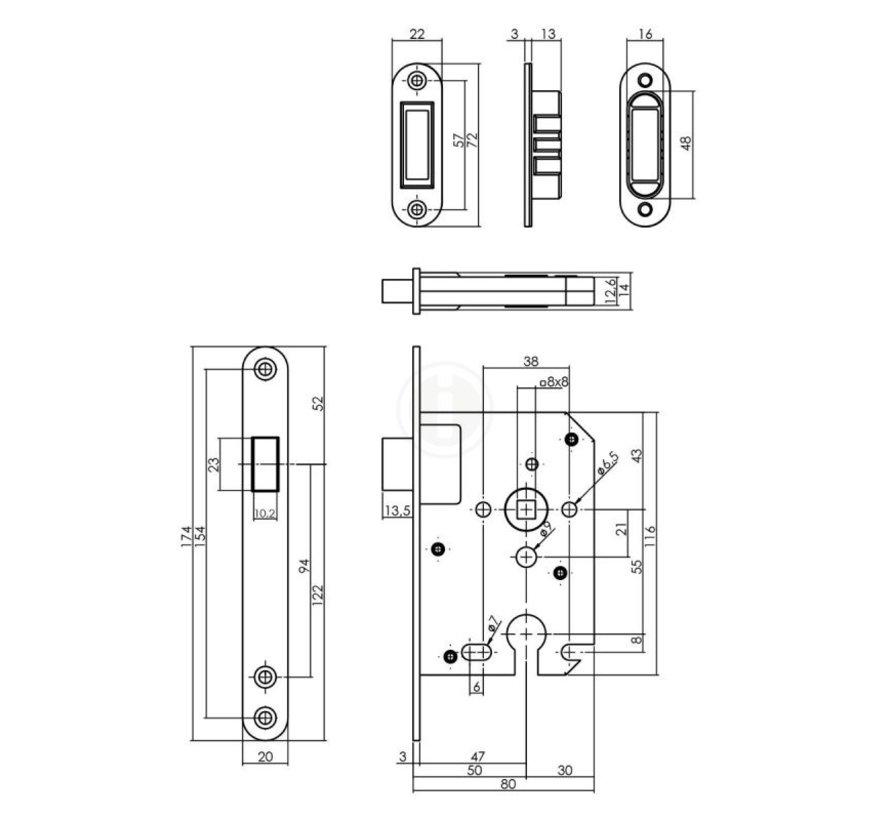 Intersteel Dag- en nachtslot magneet 50mm RVS U174x20 mm  PC55