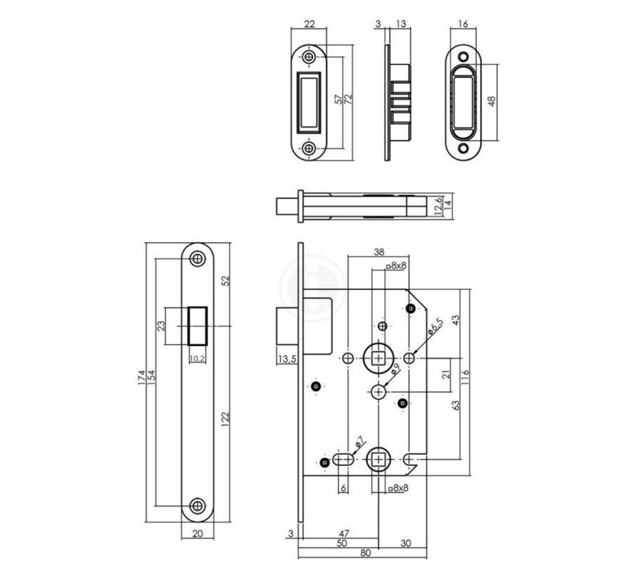 Intersteel Vrij- en bezetslot RVS magneet 50mm / U174x20mm