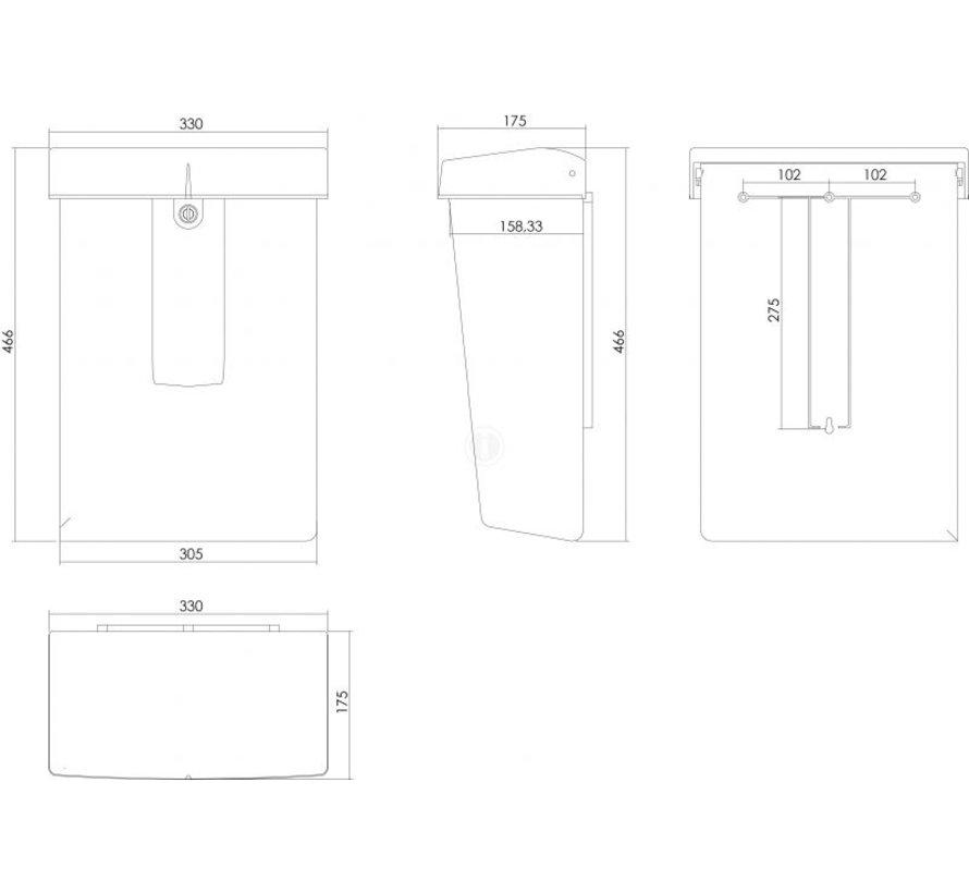 Postkast Summus kuntstof + slot zilver RAL9006