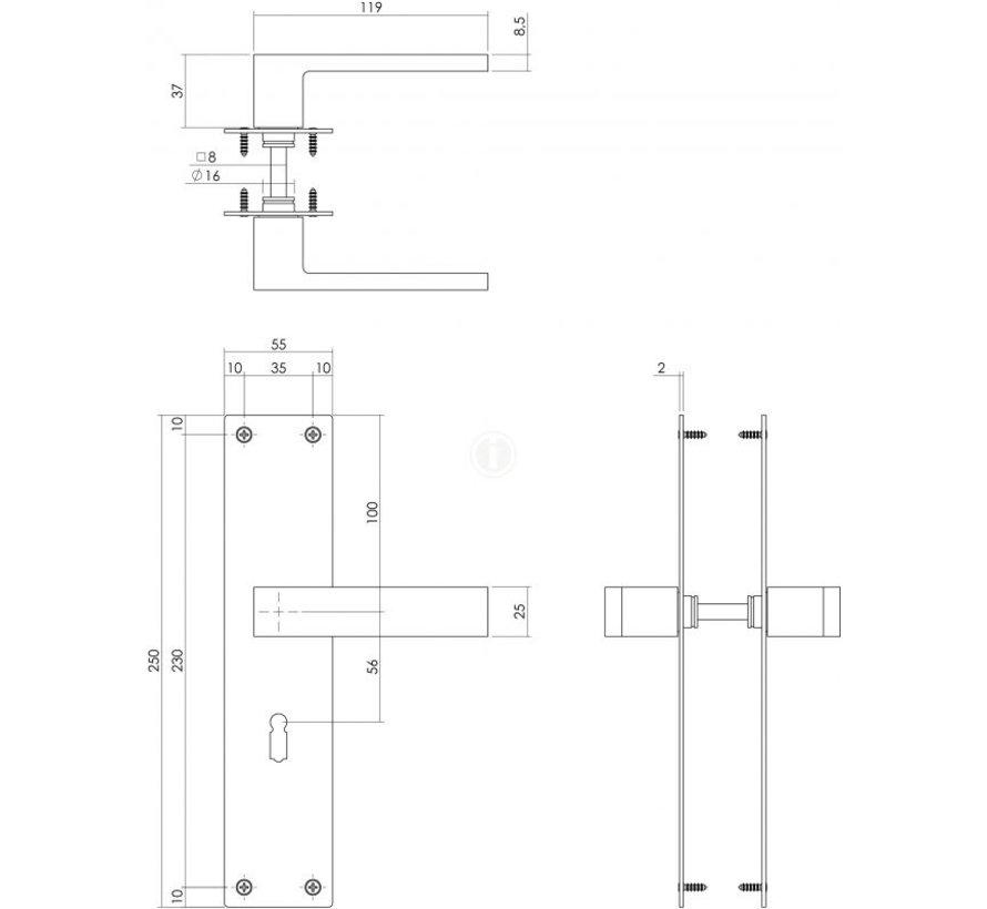 Intersteel deurkruk Amsterdam met renovatieschild 2mm SL56 Zwart