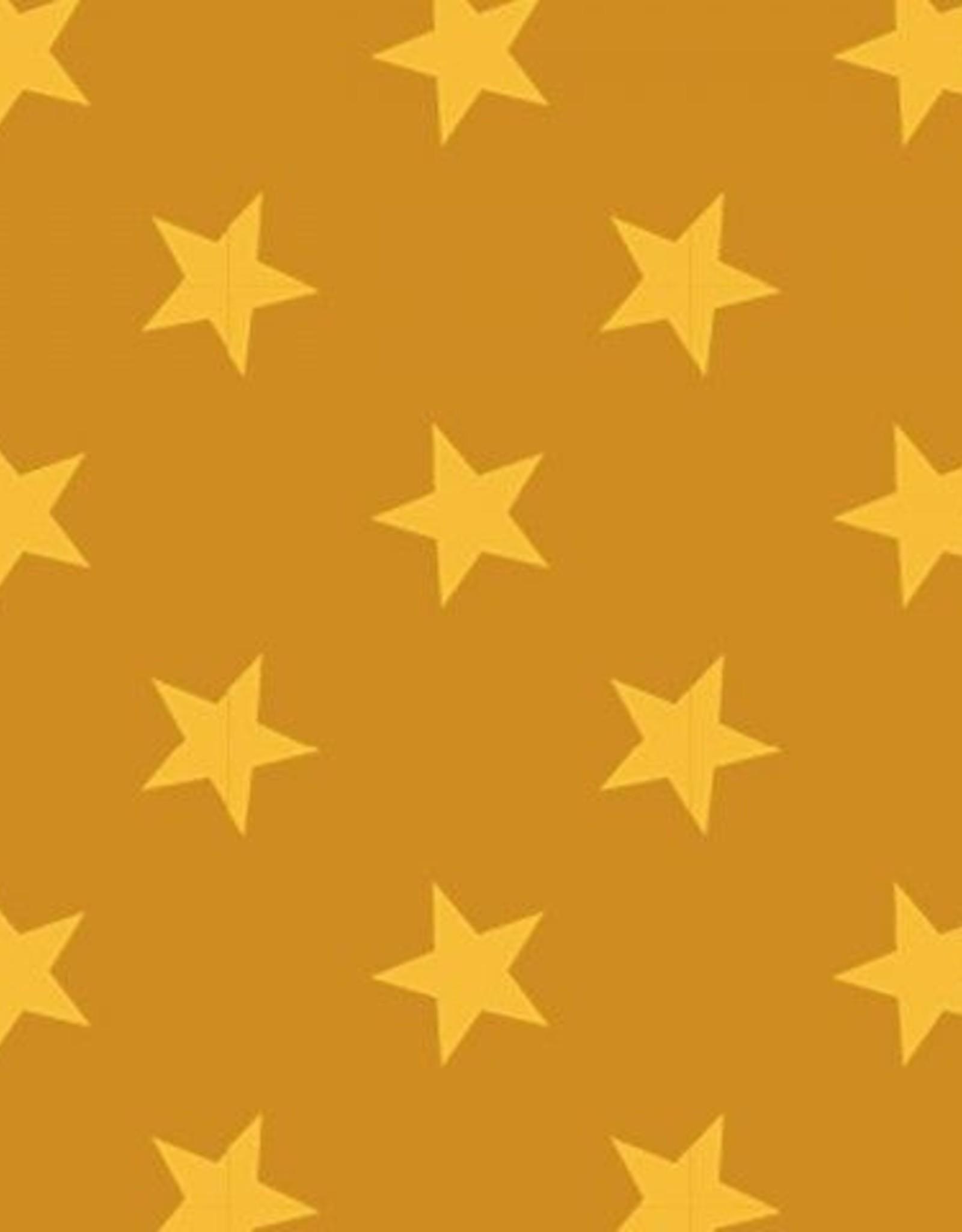 Mosterd met gele sterretjes French terry