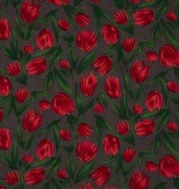 Elastische viscose met tulpen