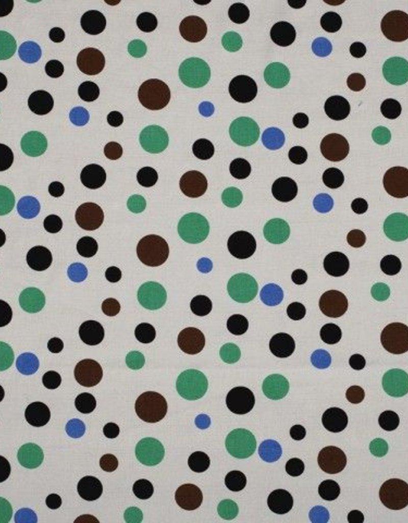 Linnen viscose met groen blauwe cirkels