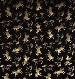 Zwarte tricot met gouden paardjes