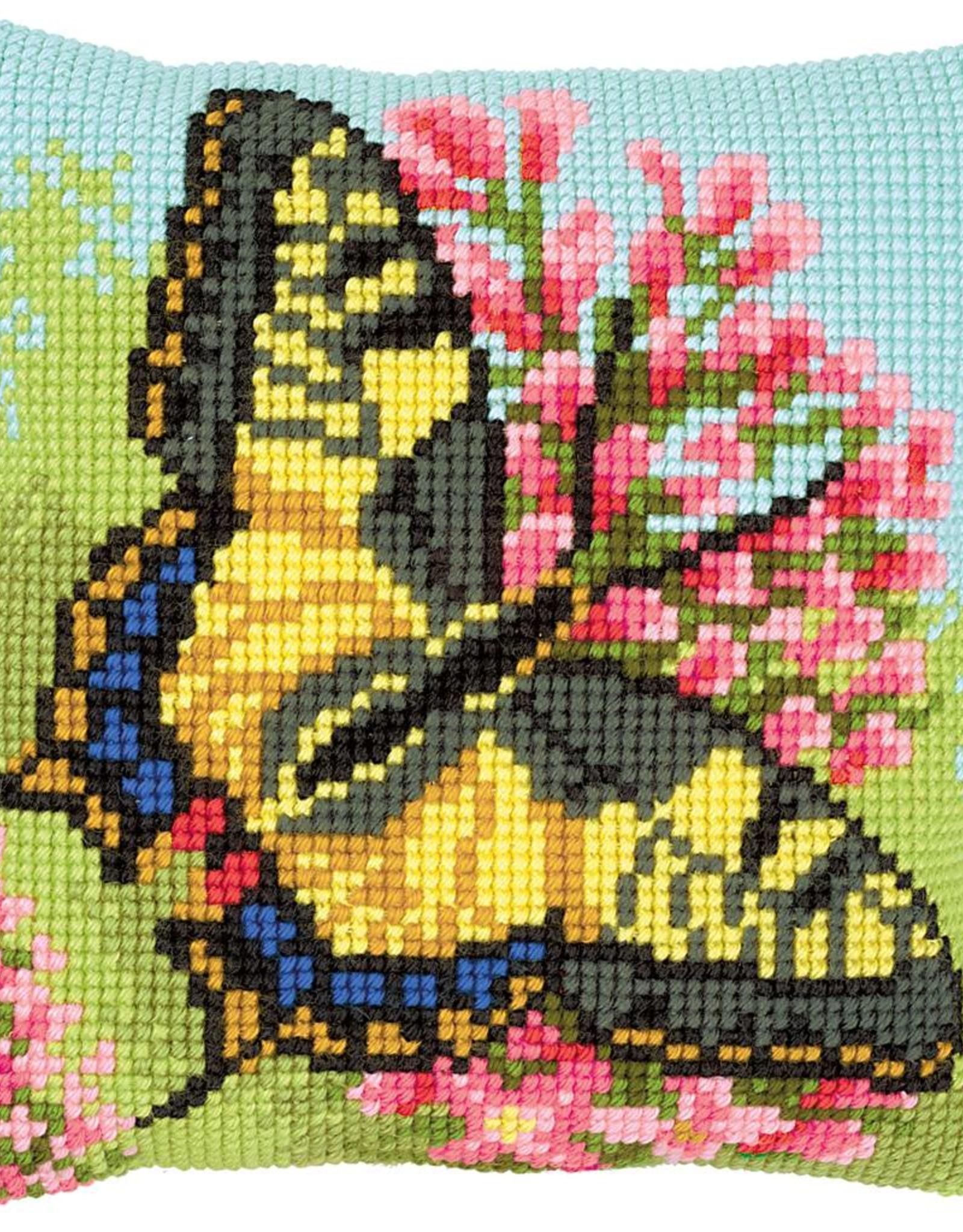 Kruissteekkussen kit Vlinder