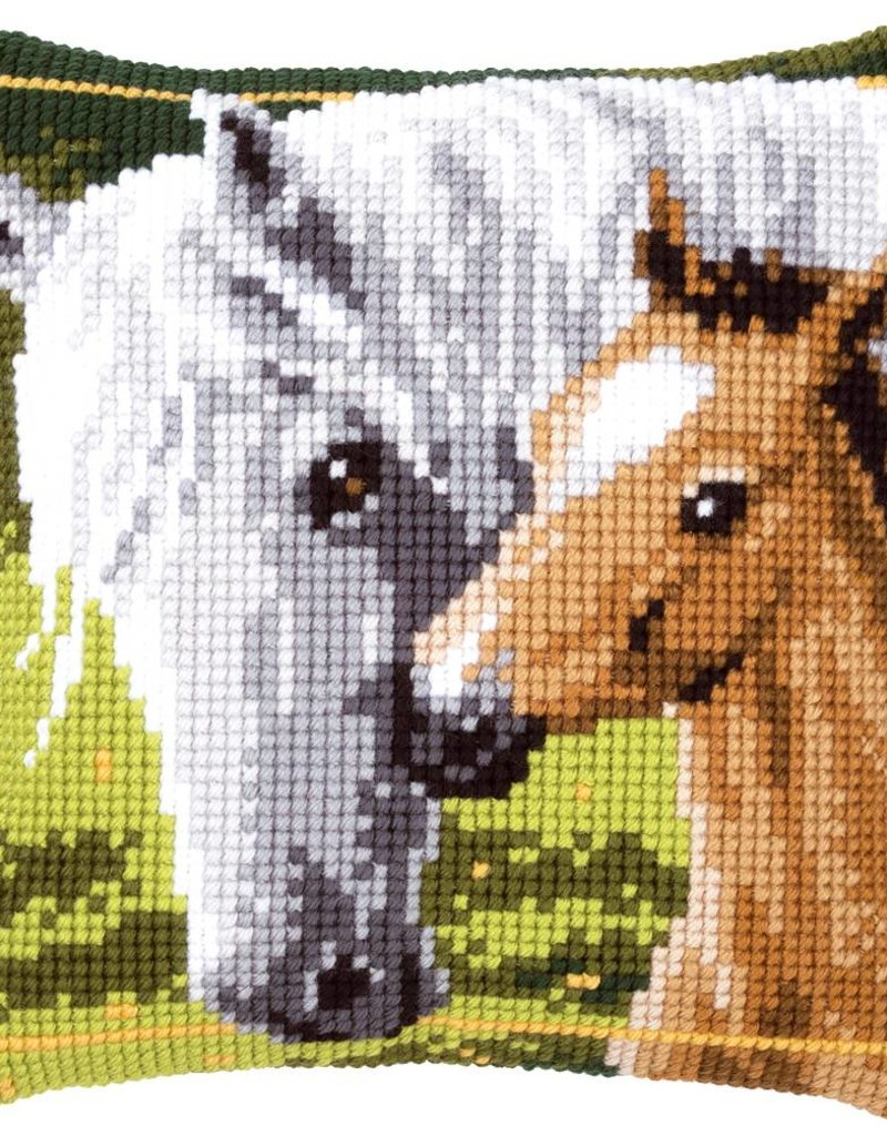 Kruissteekkussen kit Wit paard met veulen