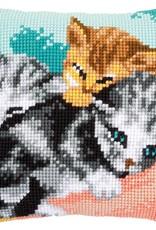 Kruissteekkussen kit Snoezelige kittens