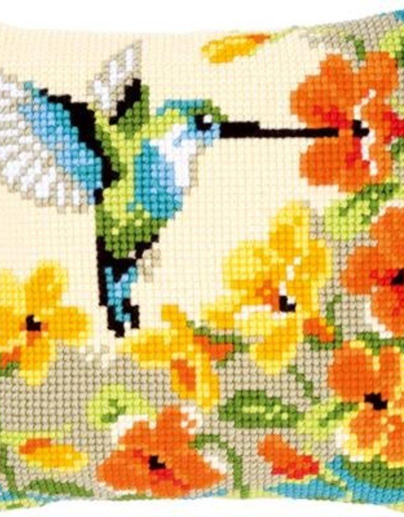 Kruissteekkussen kit Kolibri met bloemen