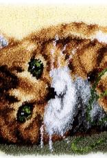 Knooptapijt kit Spelende kat