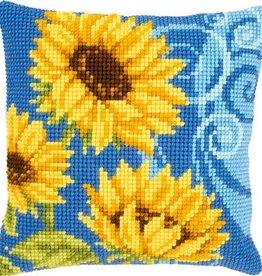 X-st Pakket kussen Zonnebloemen op blauw