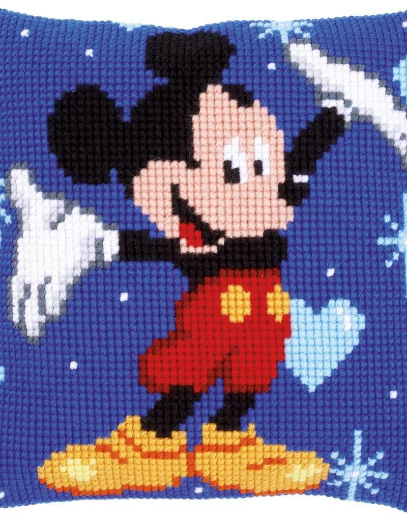 Kruisjessteek kussen Mickey Mouse