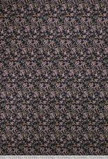 Katoenviscose zwart met tuinbloempjes