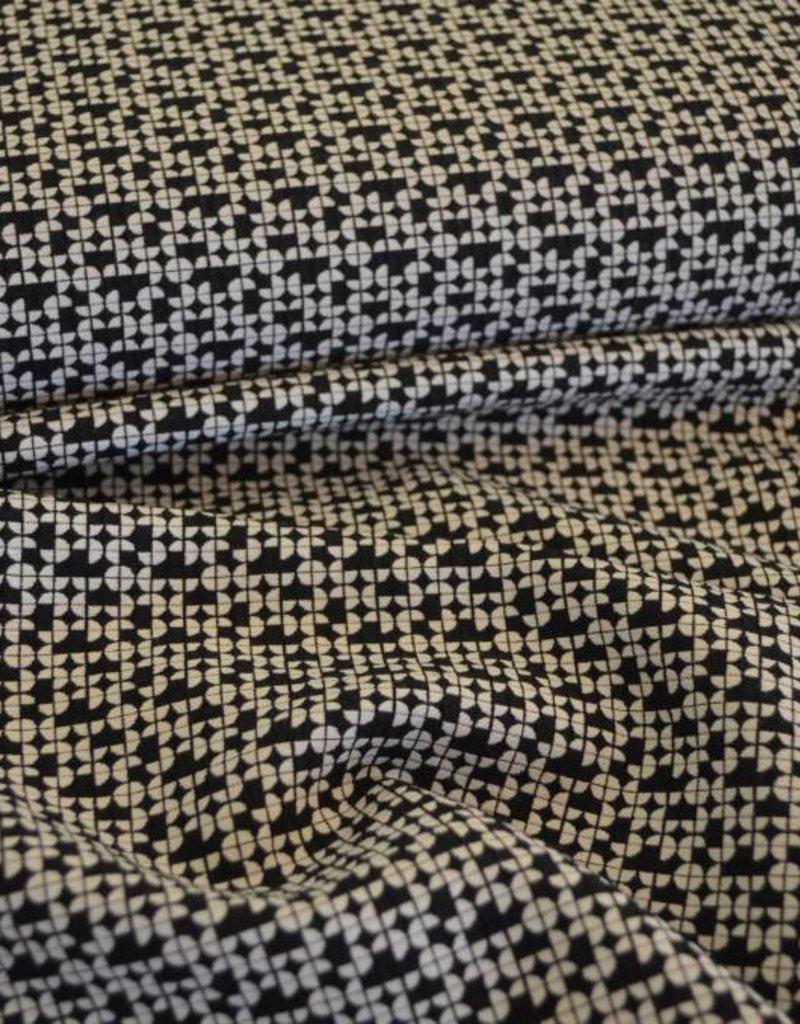 Polyesterviscose met structuur zwart wit