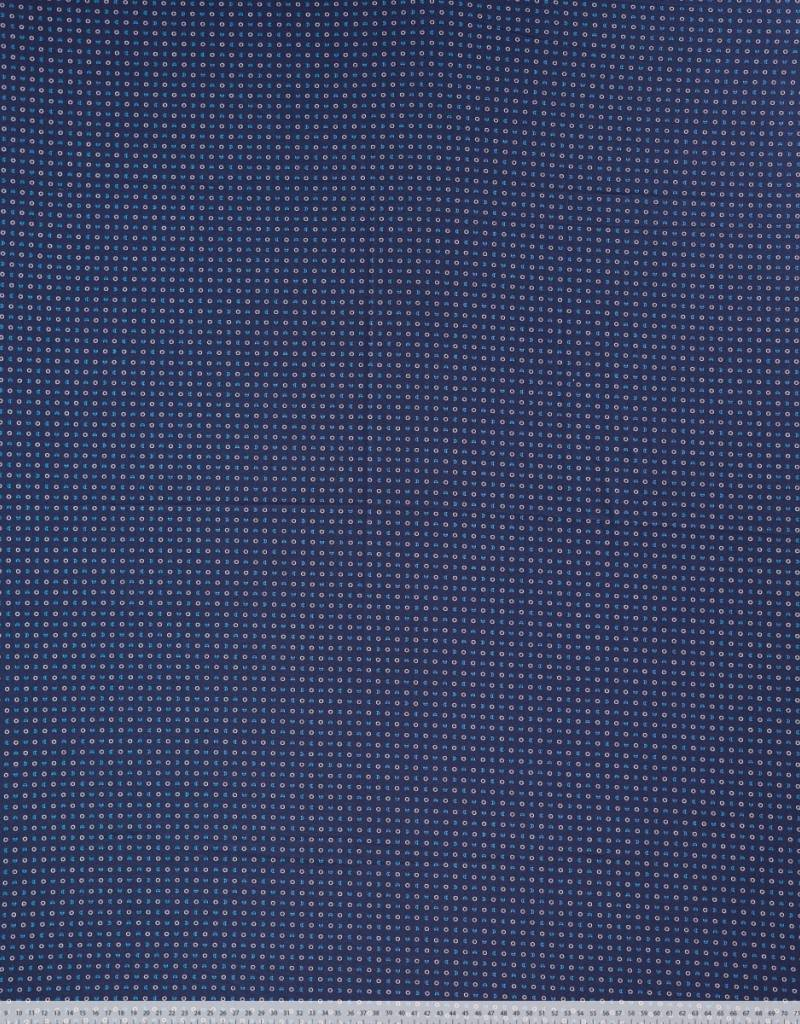 Katoen marine witte en blauwe maantjes