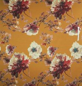 Oranje polyester met grote bloemen digitale print