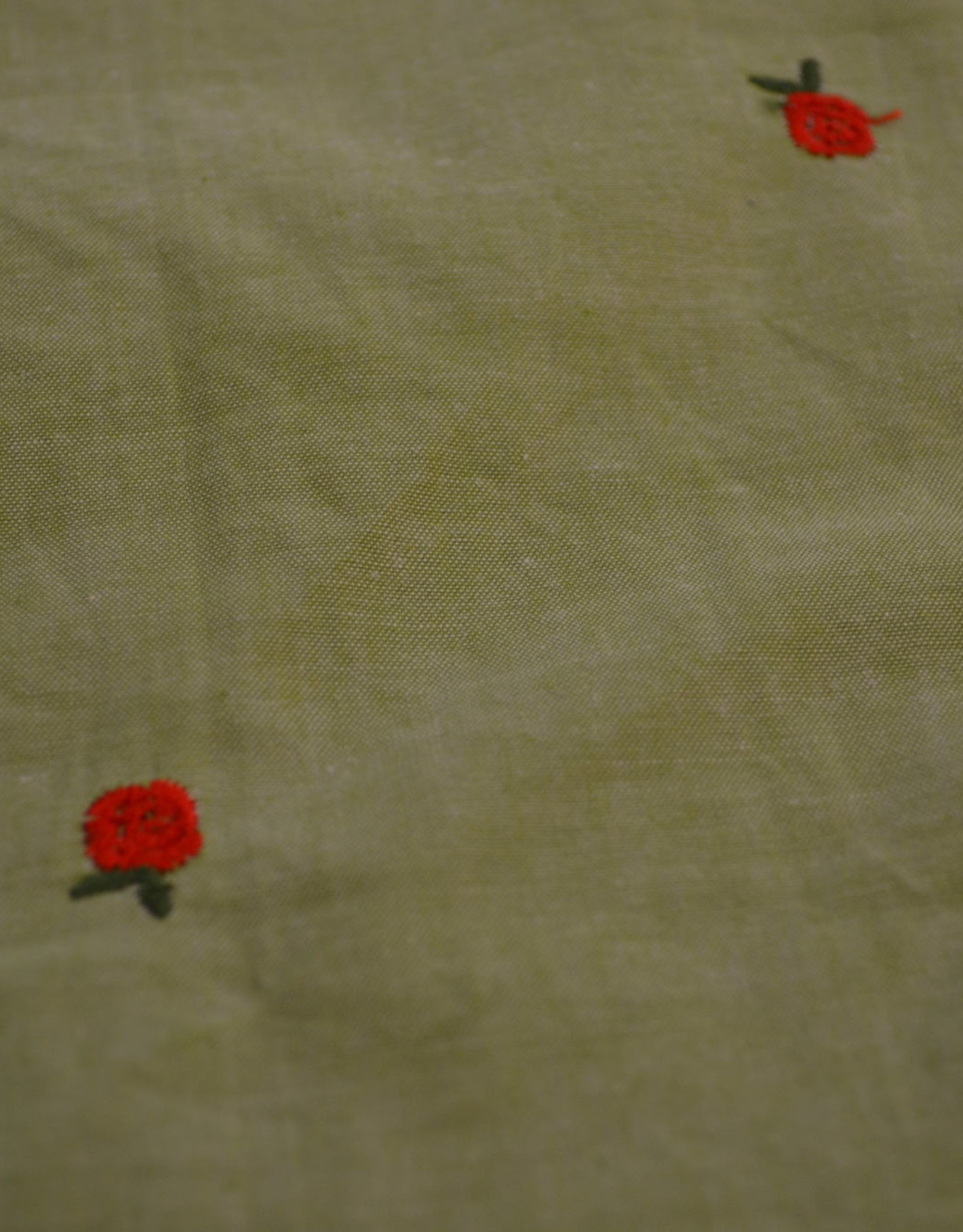 Geborduurde katoen groen met rood borduursel
