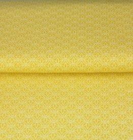 Stenzo Popeline geel met blaadjes