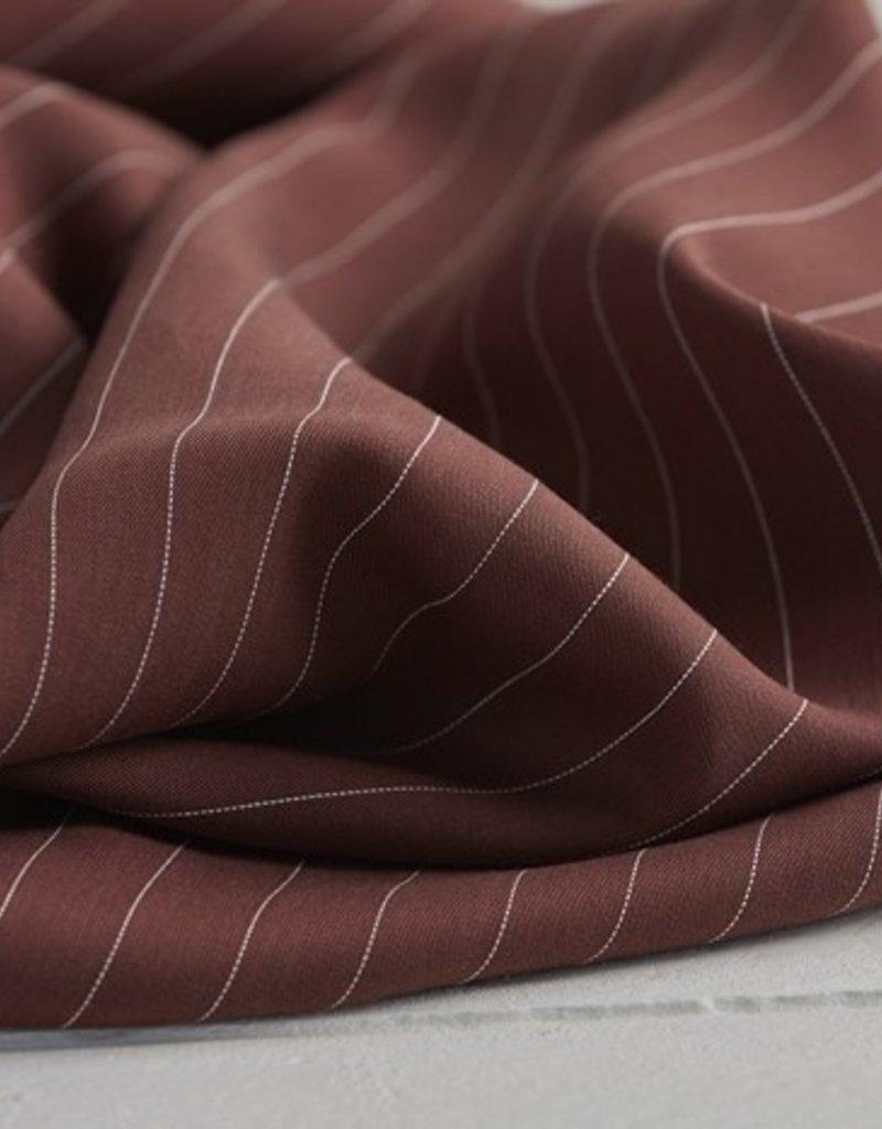 Meet Milk Tencel Pin stripe twill bruin